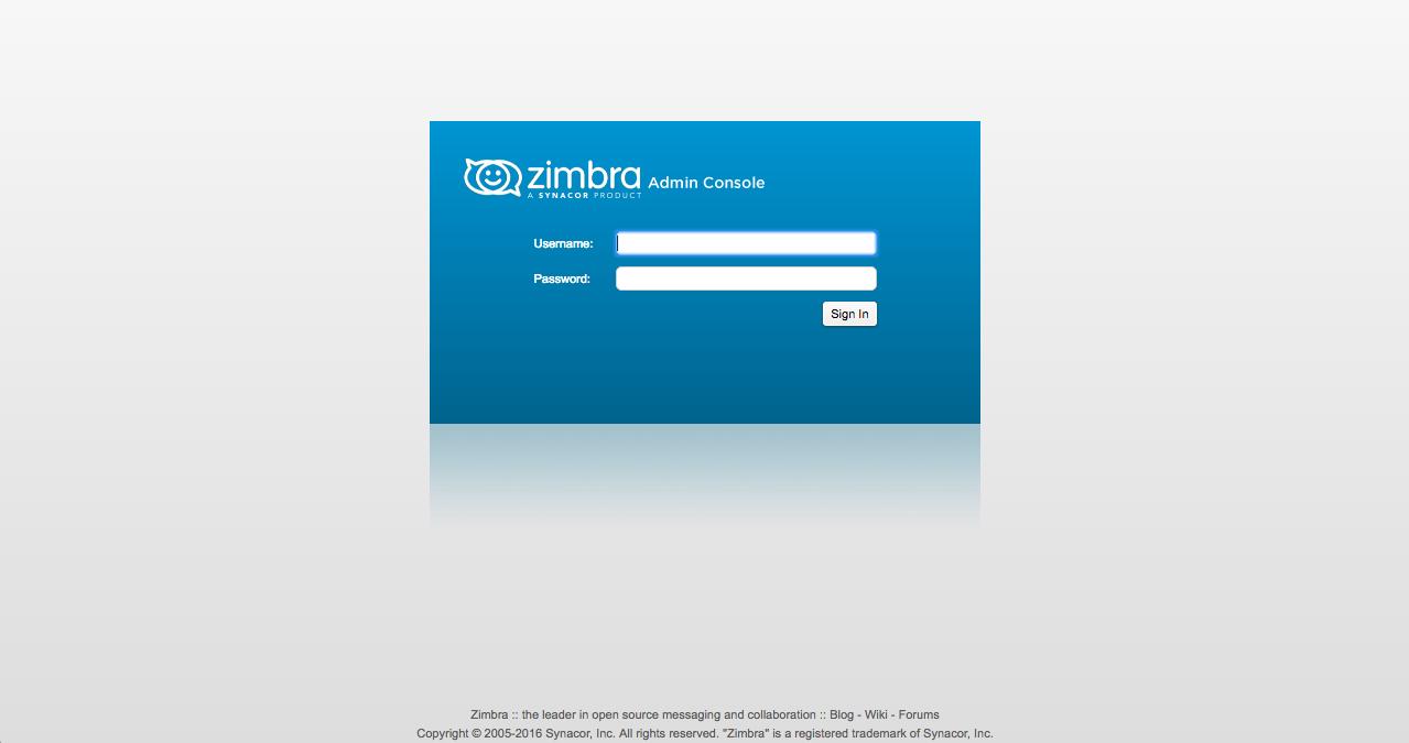 Zimbra Admin Console Login Page 8.7