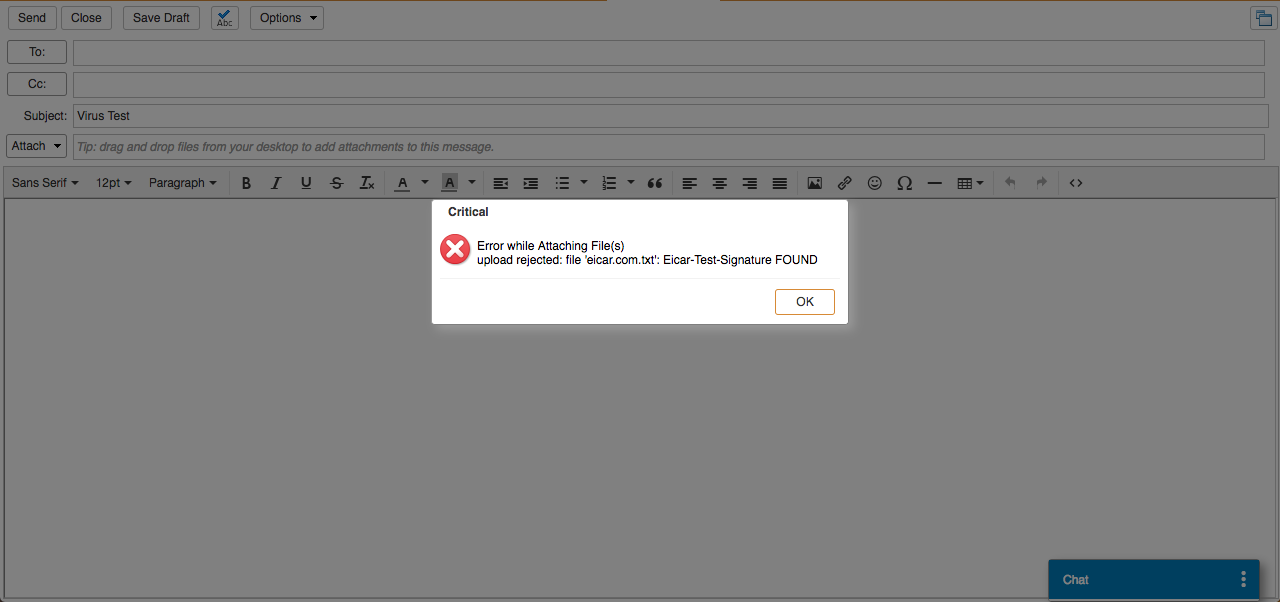 Realtime Attachment Scanning Zimbra Web Client